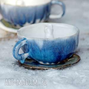 ceramiczna duża filiżanka kubek z figurką kota- lodowa, filiżanka, kubek, zkotem