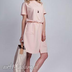 Sukienka, SUK117 róż, casual, sukienka, kokardka, kieszenie, różowa, midi
