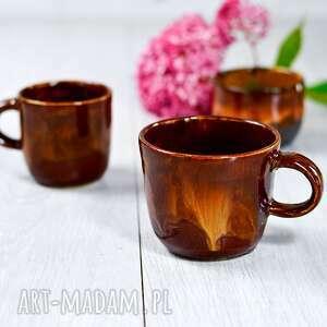 hand-made ceramika zestaw kawowy - esspresso 2 kubki plus czarka ogniste
