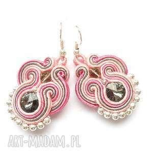handmade kolczyki pastelowe kolczyki sutasz z kryształkami swarovski w różu i szarości
