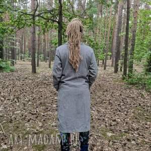 ręcznie zrobione płaszcze płaszcz damski szary materiał z domieszką wełny, rozmiar m/l