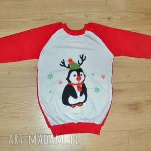 świąteczna bluza dziecięca, świąteczna, bluza, czerwona, pingwinek, dzianina