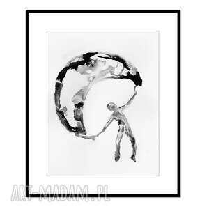 free fall, grafika, tusz, abstrakcja, obraz