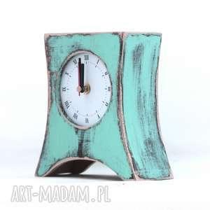 Zegar drewniany stojący miętowy zegary clockwoodstudio drewno