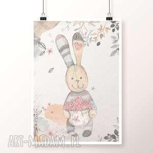 Plakat PAN KRÓLIK A3, królik, zając, retro, zajączek, króliczek, kwiaty