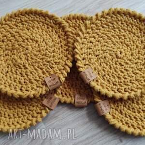 hand-made podkładki zestaw 5 podkładek ze sznurka bawełnianego