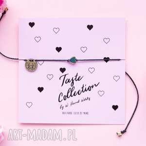 WHW Taste Tiny Rainbow Heart On Black String, sznurkowa, sznureczkowa, delikatna