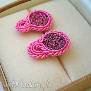 hand-made kolczyki druzy agatowe różowe - mini kolczyki sutasz