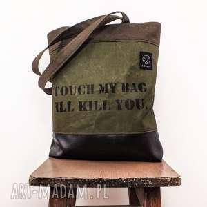 torebka canvas khaki crushed z napisem - wytrzymała, solidna, napis, prezent, pojemna