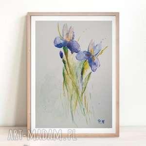 Obraz akwarelowy IRYSY format 18/24 cm, irysy, kwiaty, akwarela, farba