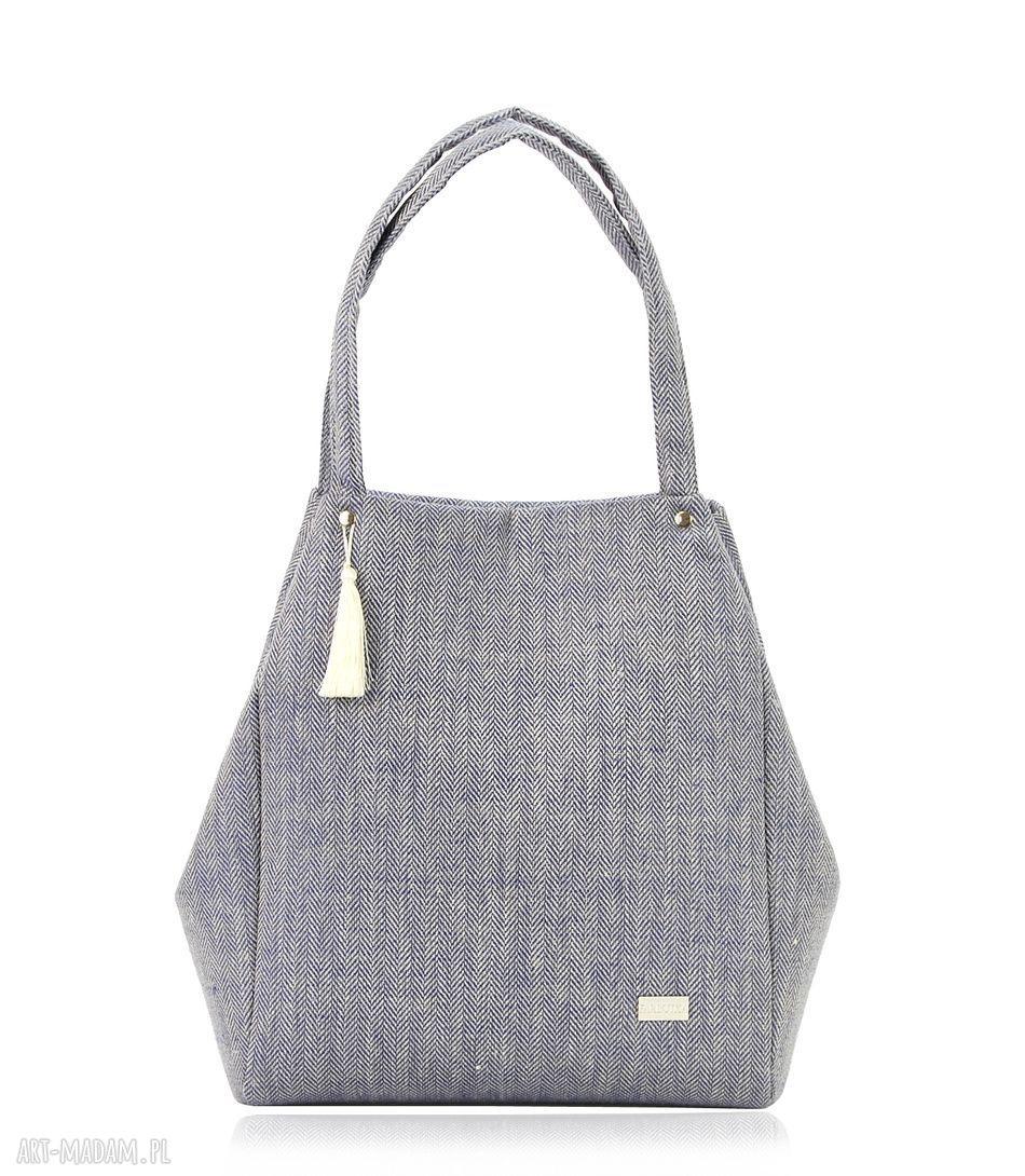 ręcznie robione na ramię torebka lniana simple 815