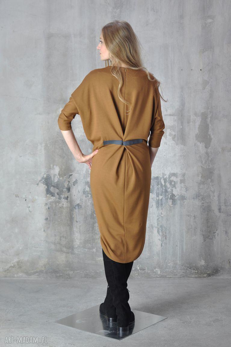 beżowe sukienki midi step - sukienka