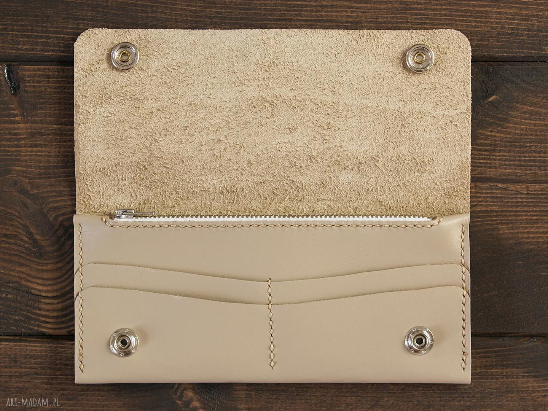 gustowne portfele portfel skórzany kremowy