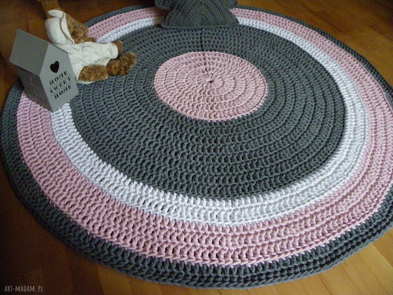 dywan dywany różowe ręcznie robiony okrągły ze