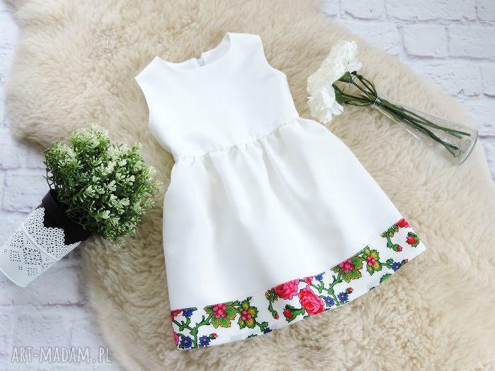 eleganckie ubranka sukienka biała góralska folkowa