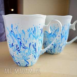 ręcznie wykonane kubki 2 dla pary malowane błękitne