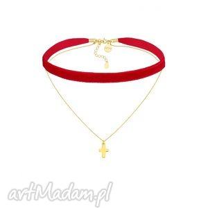 ręcznie robione naszyjniki czerwony aksamitny choker z łańcuszkiem