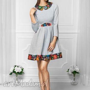 Sukienka w stylu FOLK szara, dzianina, dresowa, sukienka, folk