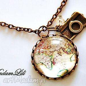 naszyjnik z brązu obieżyświat ii orginalny - naszyjnik, mapa, vintage