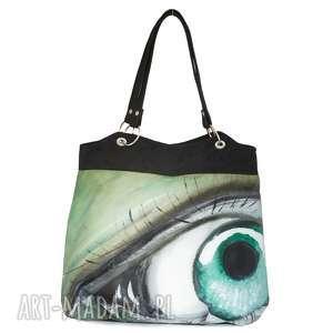 zielone oczko - torebka, malowana, oryginalna, alkantara, pojemna, lekka