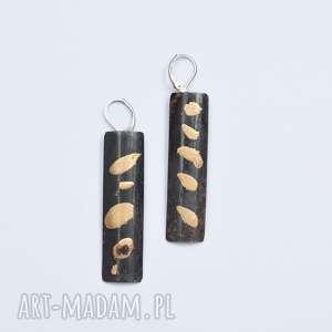 Kolczyki z miedzi złoto płatkowe, tzw szlagmetal langner design
