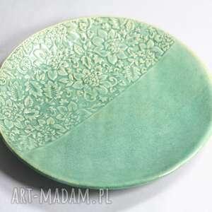 święta, talerz zielony kwiatowy, ceramika artystyczna, talerz, na stół, prezent