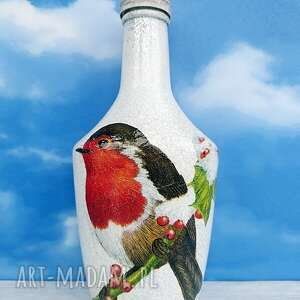 ptaki gil dekoracyjna butelka z kolekcji vögel im winter - rękodzieło