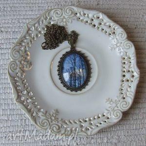 wisior medalion vintage z grafiką drzewa, biżuteria, wisior, naszyjnik