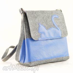 Nowa duża listonoszka z filcu - niebieski kotek, torebka, filc, filcowa, niebieska