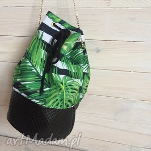 Torba-worek liście , worek, liście, palma, ekoskóra, łańcuszek, sakwa