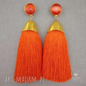 Pędzelki w złotej oprawie pomarańczowe, klipsy, sztyfty, metal, szkło, wiskoza,