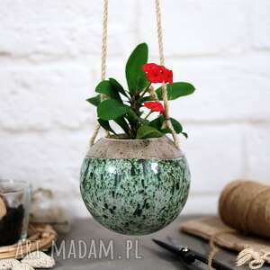 ceramika boho - ceramiczna doniczka wisząca, na kaktusy