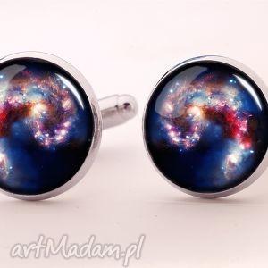 nebula - spinki do mankietów - niebieskie spinki, męska, kosmos