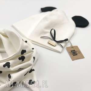 Komplet Mouse czapka i chustka, komplet, ecru, zestaw, myszki