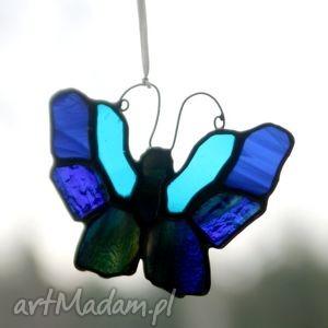 motyl ultraniebieski 2, witraż, szkło, motyl, zawieszka