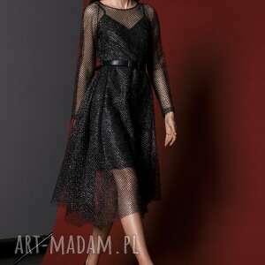 unikalny, sukienka z siateczki, koronka, siateczka, grafit, błysk, błyszcząca