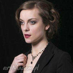 Czarna łza, naszyjnik z pereł - ,naszyjnik,czarny,srebro,perły,swarovski,biżuteria,