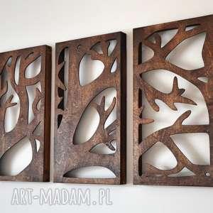 ażurowy obraz / drzewo drewniany tryptyk gałęzie, drewno, vintage