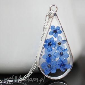 hand-made naszyjniki 925 kwiaty niezapominajki ♥ srebrny łańcuszek