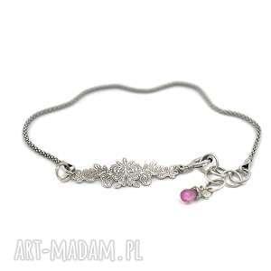 bransoletki bransoletka z rubinem, bransoletka, srebro, 925, rubin, delikatna
