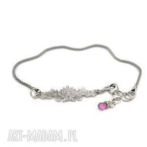 Bransoletka z rubinem, bransoletka, srebro, 925, rubin, delikatna, minimalistyczna