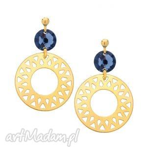 kolczyki z dużymi arabskimi rozetami i ciemnoniebieskimi kryształami swarovski
