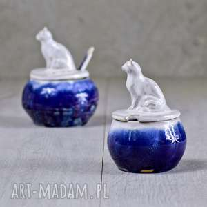 ręcznie wykonane ceramika mała cukiernica z figurką kota | granat 220 ml rękodzieło