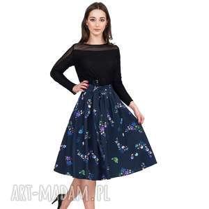 spódnice spódnica iza midi penelopa, kwiaty, wiązanka, pasek, kokarda