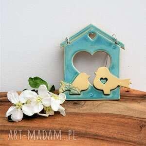 obrazek ceramiczny domek z parą ptaszków, ceramika, obrazek, dekor