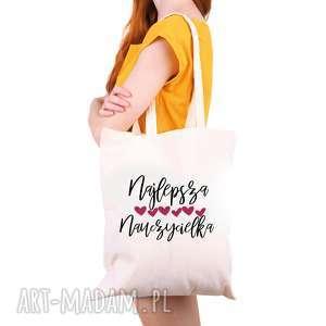 handmade torba eko na zakupy dla nauczyciela najlepsza nauczycielka - dzień