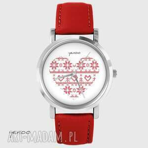 ręcznie robione zegarki zegarek - serce skandynawskie czerwony, skórzany