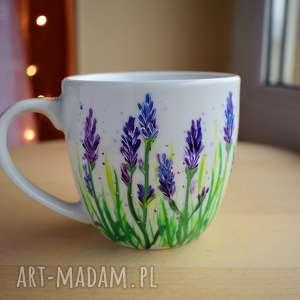 Kubek z lawendą Ręcznie Malowany Optymistyczny, w-kwiaty, wiosenny, lawenda
