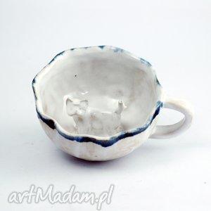 ręcznie zrobione ceramika ceramiczna duża filiżanka kubek z figurką psa west terrier