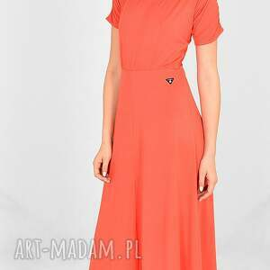 sukienki sukienka long renne koral, długa sukienka, kobieca bluzka